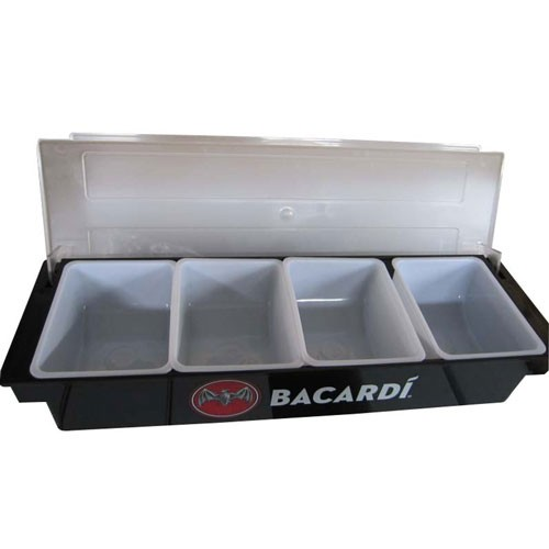 Plastic condiment tray with dividers